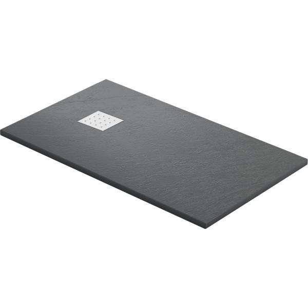 DK Duschwanne Rocky 2000 x 900 mm anthrazit inkl. Ablaufgitter in Edelstahl matt
