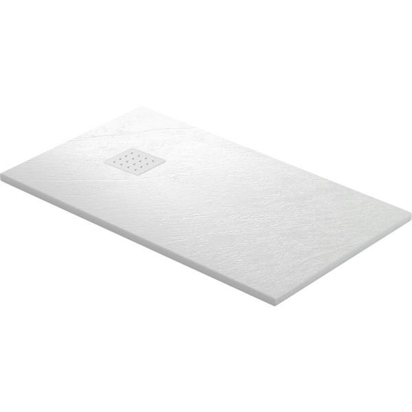 DK Duschwanne Rocky 1600 x 700 mm weiss inkl. Ablaufgitter in Edelstahl matt